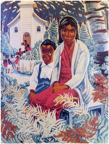 """""""Indian Children"""" by Yvonne McKague Housser, 1944. Image courtesy, http://www.sampsonmatthewsprints.com/silkscreen-gallery.html"""